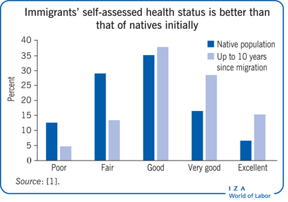 Immigrants' self-assessed health status is                         better than that of natives initially