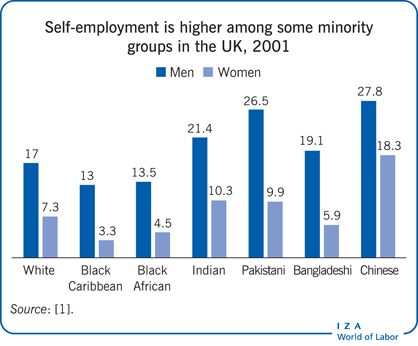 Self-employment is higher among some                         minority groups in the UK, 2001