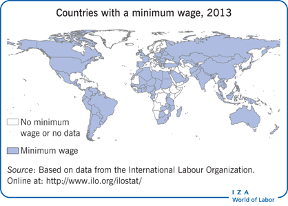Countries with a minimum wage, 2013