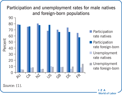 Participation and unemployment rates for                         male natives and foreign-born populations