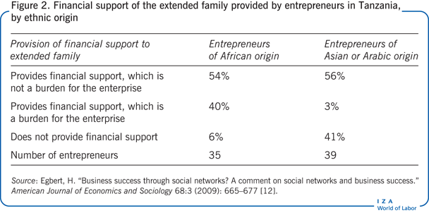 Financial support of the extended family                         provided by entrepreneurs in Tanzania, by ethnic origin