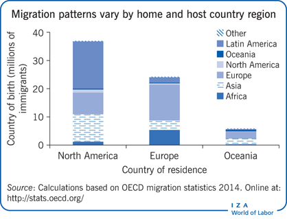 Migration patterns vary by home and host                         country region