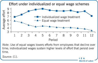 Effort under individualized or equal wage                             schemes