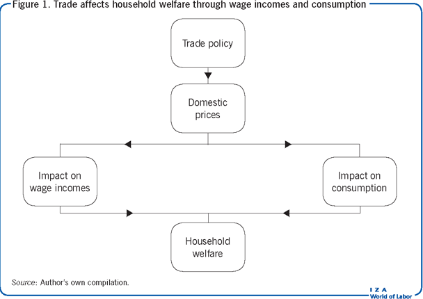 Trade affects household welfare through                         wage incomes and consumption
