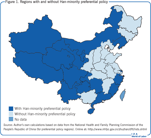 Regions with and without Han-minority                         preferential policy