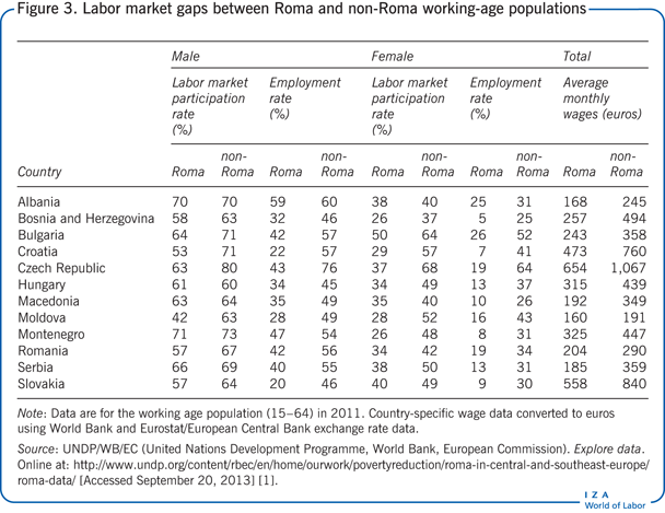 Labor market gaps between Roma and non-Roma                         working-age populations