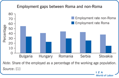 Employment gaps between Roma and                         non-Roma