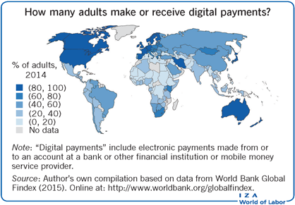 How many adults make or receive digital                         payments?