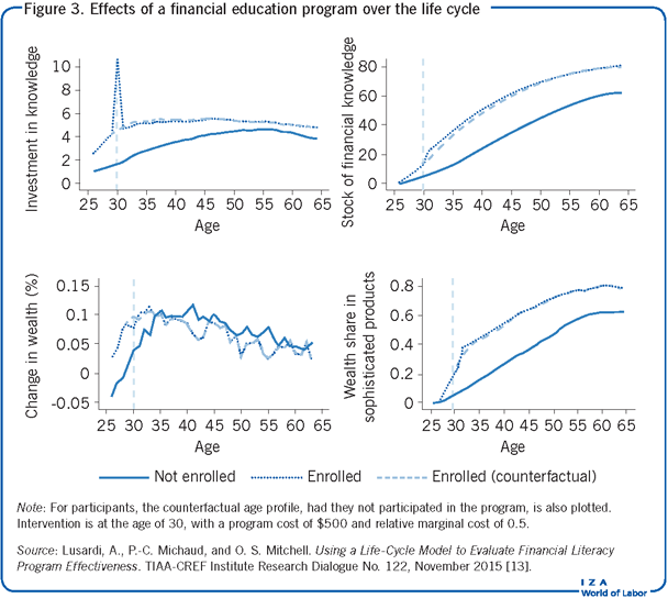 Effects of a financial education program                         over the life cycle