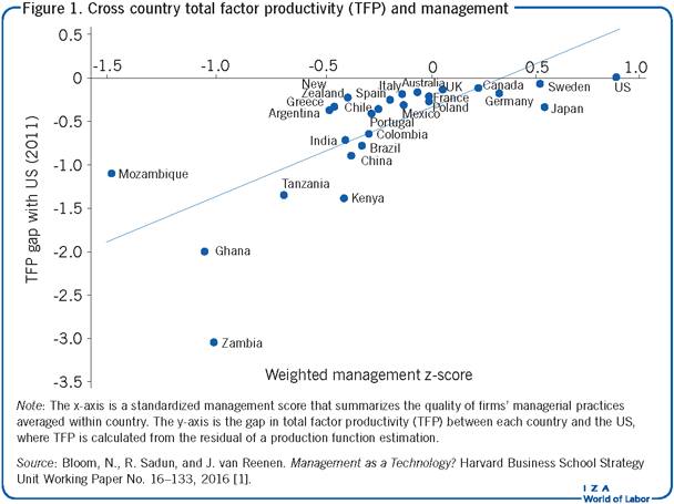 Cross country total factor productivity                         (TFP) and management