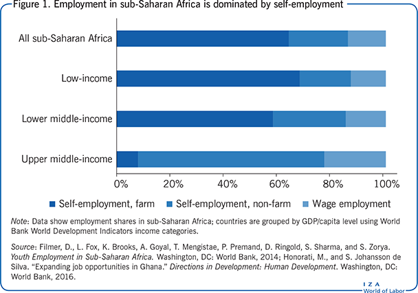 Employment in sub-Saharan Africa is dominated by self-employment