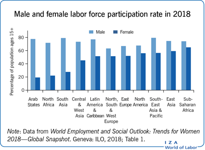 Male and female labor force                         participation rate in 2018