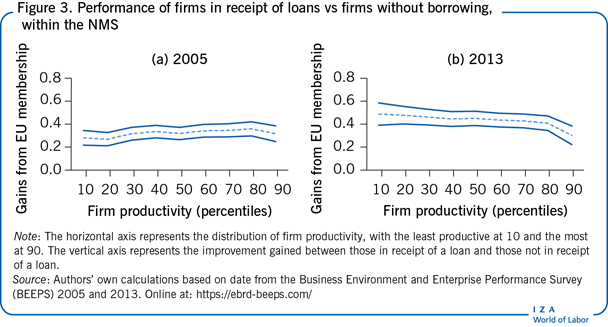 Performance of firms in receipt of loans vs firms without borrowing, within the NMS