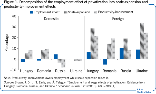 Decomposition of the employment effect                         of privatization into scale-expansion and productivity-improvement                         effects