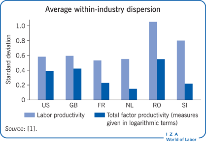 Average within-industry dispersion in both                         labor productivity and total factor productivity