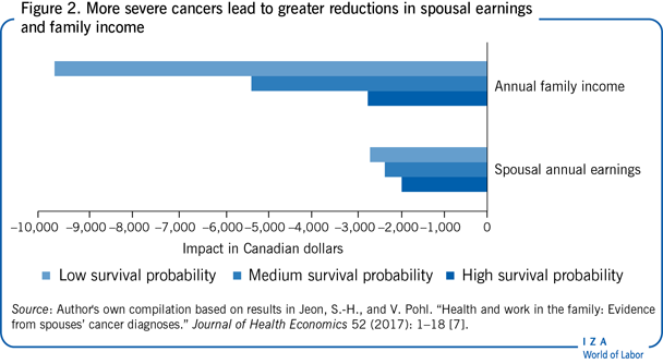 More severe cancers lead to greater                         reductions in spousal earnings and family income