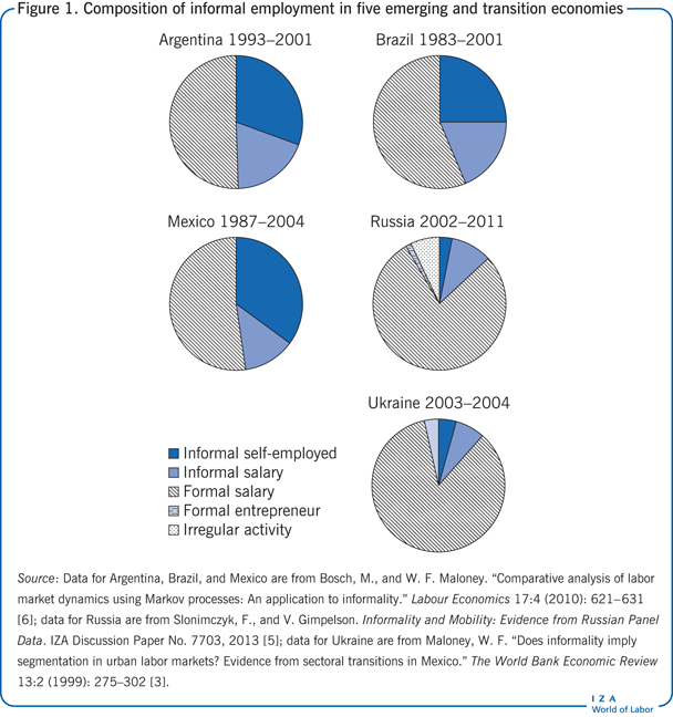 Composition of informal employment in five                         emerging and transition economies