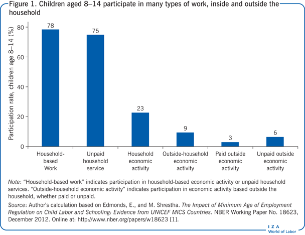 Children aged 8−14 participate in many                         types of work, inside and outside the household