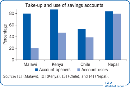 Take-up and use of savings accounts