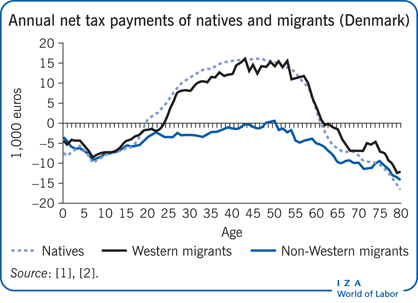 Annual net tax payments of natives and                         migrants (Denmark)