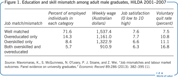 Education and skill mismatch among adult                         male graduates, HILDA 2001–2007