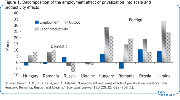 Decomposition of the employment effect of                         privatization into scale and productivity effects